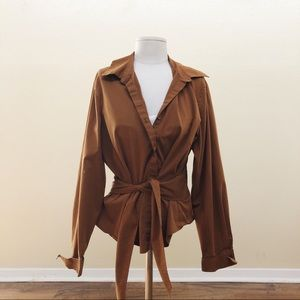 Vintage Brown Tie Up Blouse